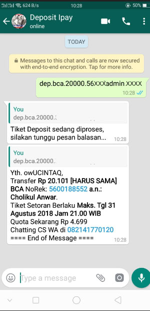 Deposit Via Whatsapp